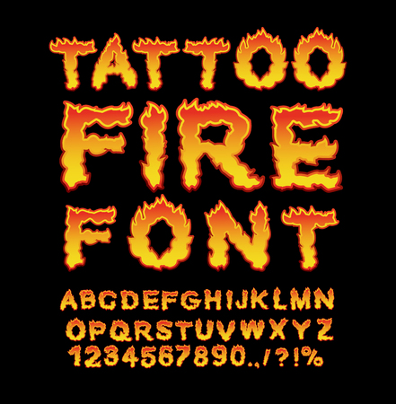 burning alphabet: Tattoo Fire font. Flame Alphabet. Fiery letters. Burning ABC. Hot typography. blaze lettring