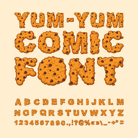 Yum Yum comic font. Letters of cookies. Biscuits with chocolate Drops alphabet. Food lettering. Edible typography. Baking ABC. Crackers and oatmeal pastry