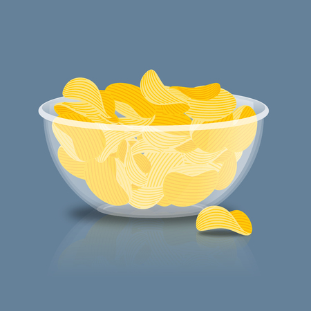 potato chips: Potato Chips in bowl. Fried potatoes in deep transparent plate. delicious yellow snack