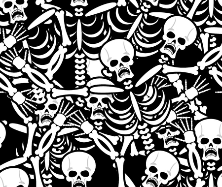 infernal: Sinners seamless pattern. Skeleton in Hell background. Ornament of dead. Bones and skull texture. infernal torments. Religious background