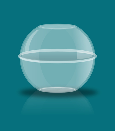 reflection: Glass ball with reflection. Empty transparent sphere
