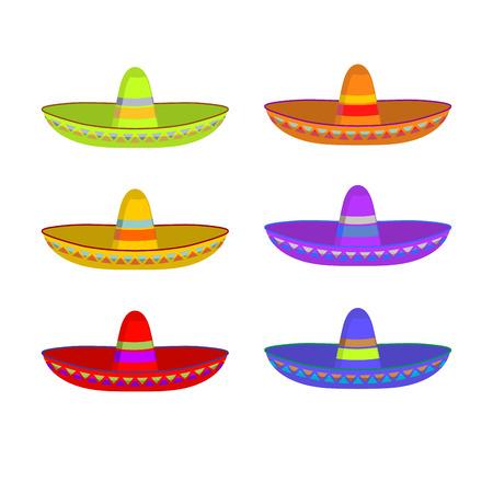 Sombrero set. Colorful Mexican hat ornament. National cap Mexico