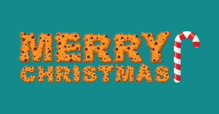 Happy Christmas cookies typography. Letters of cookie. Peppermint Christmas candy. New Year food sign. Mint lollipop stick. Sweet festive lettering