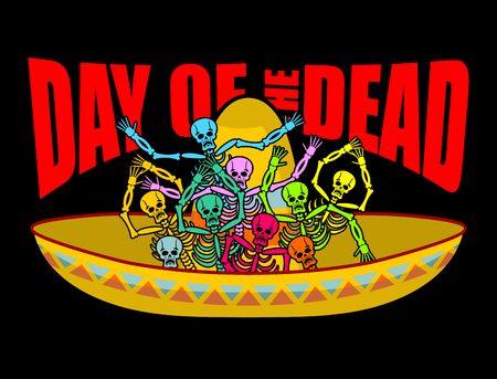 Day of the Dead skeletons and sombrero. Multi-colored skull in Mexican hat. Emblem for National Holiday in Mexico. Illustration Ethnic feast