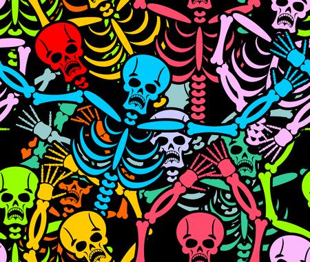 死者の日のシームレスなパターン。色とりどりのスケルトンの飾り。頭蓋骨のテクスチャです。メキシコの国民の祝日のため死んでの背景  イラスト・ベクター素材