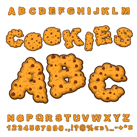 crackers: Cookies font. Food lettering. Edible typography. Baking ABC. Crackers and oatmeal pastry. Biscuits with chocolate Drops alphabet. Letters of cookie