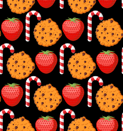 peppermint candy: Sweet pattern. Cookies and mint stick ornament. Strawberry background. Peppermint Christmas candy. Dessert texture Illustration