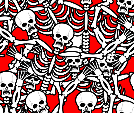 infernal: Hell seamless pattern. Skeleton in Sinners background. Ornament of dead. Bones and skull texture. infernal torments. Religious background Illustration