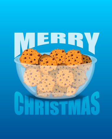 oat: Happy Christmas. Bowl and cookie. Sweets on glass plate. Traditional treat for New Year. Oat cookies festive food
