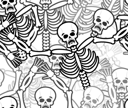 sinners: Sinners seamless pattern. Skeleton in Hell background. Ornament of dead. Bones and skull texture. infernal torments. Religious background