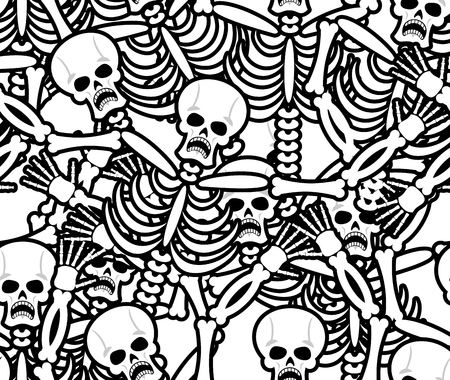 Sinners seamless pattern. Skeleton in Hell background. Ornament of dead. Bones and skull texture. infernal torments. Religious background