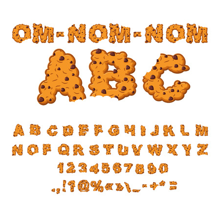 Om nom nom ABC. Cookies font. Biscuits with chocolate Drops alphabet. Letters of cookie. Food lettering. Edible typography. Crackers and oatmeal pastry