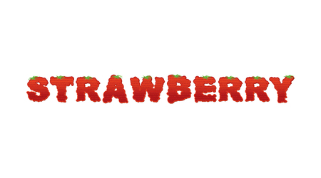 blushing: Strawberry typography. Letters of ripe red berries. blushing lettering fresh fruit Illustration