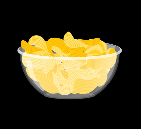grease: Potato Chips in bowl. Fried potatoes in deep transparent plate. delicious yellow snack