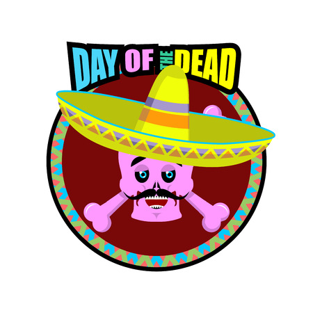 macabre: Day of the Dead skeletons and sombrero. Multi-colored skull in Mexican hat. Emblem for National Holiday in Mexico. Illustration Ethnic feast