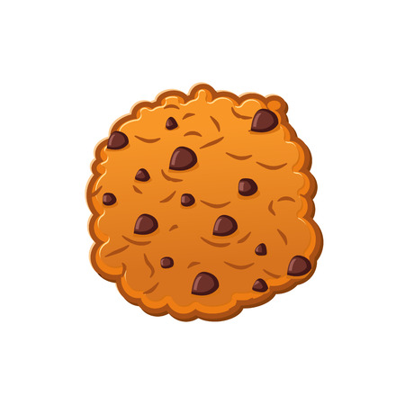 chocolate drops: Cookies with chocolate Drops. Oatmeal Biscuits on white background. Sweet Cracker isolated