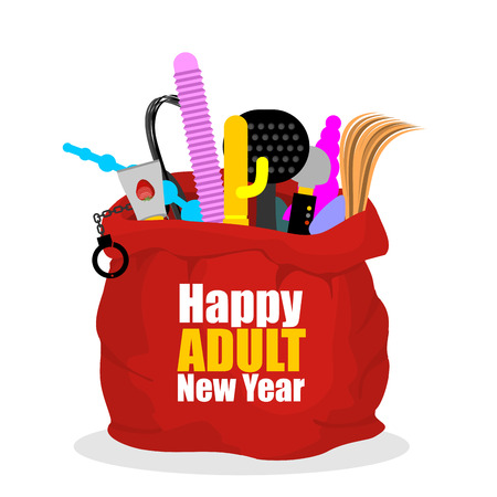 Happy adult New Year. Red sack of Santa Claus with BDSM sexy toys. Dildo and gag. Whip and Vibrator. Beater and lubricant.  Holiday Gifts for adults