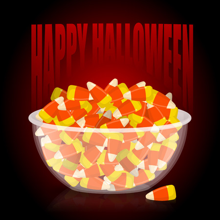 Happy Halloween. bowl and candy corn. Sweets on plate. Traditional treat for terrible holiday. Illustration