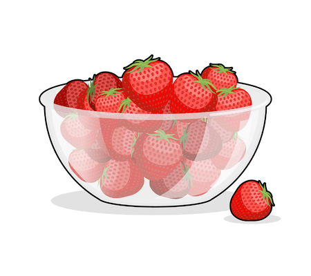 edible: Strawberries in glass bowl. Berries in deep dish plate. Red fresh fruit