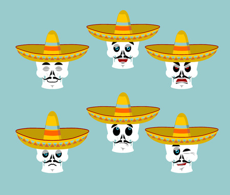macabre: Skeletons and sombrero set for Day of the Dead. Multi-colored skull in Mexican hat. Emblem for National Holiday in Mexico. Illustration Ethnic feast