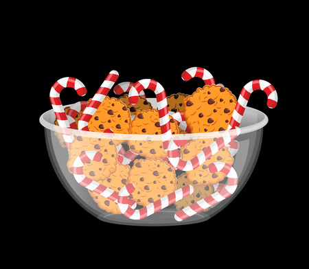 oat: Peppermint Christmas candy and cookies in glass bowl. Cookie in deep transparent plate. Oat biscuits with chocolate Drops. Mint stick lollipop. Sweets in dish