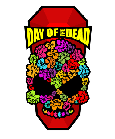 Skull of flowers for Day of the Dead. Skeleton head for national holiday in Mexico. Floral corpse Illustration