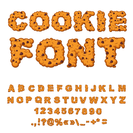 Cookies font. Biscuits with chocolate Drops alphabet. Letters of cookie. Food lettering. Edible typography. Baking ABC. Crackers and oatmeal pastry