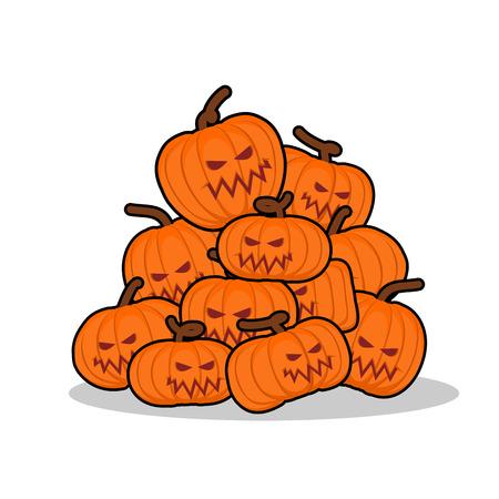 horrible: Pile of pumpkins for Halloween. Lot of vegetables for terrible holiday. horrible fruit Illustration