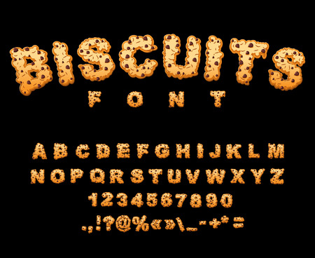 crackers: Biscuits font. Cookies with chocolate Drops alphabet. Letters of cookie. Food lettering. Edible typography. Baking ABC. Crackers and oatmeal pastry