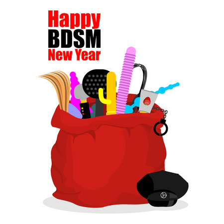 Happy BDSM New Year. Red sack of Santa Claus. Dildo and gag. Whip and anal tube. Beater and lubricant. Holiday Gifts for adults Illustration