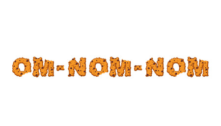 Om nom nom cookie Typography. Letters of biscuit. lettring of cookies. Edible cracker text