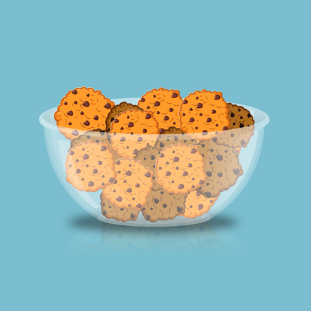 chocolate drops: Cookies in bowl. biscuit in deep transparent plate. Oatmeal cookie with chocolate Drops Illustration