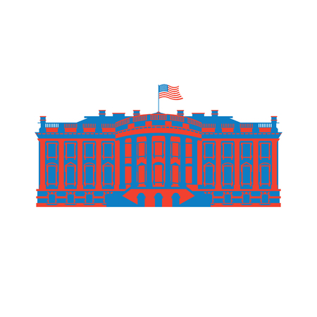residence: White House America colored icon. Residence of President USA. US government building. American political character. Main attraction washington dc. patriotic mansion United States Illustration
