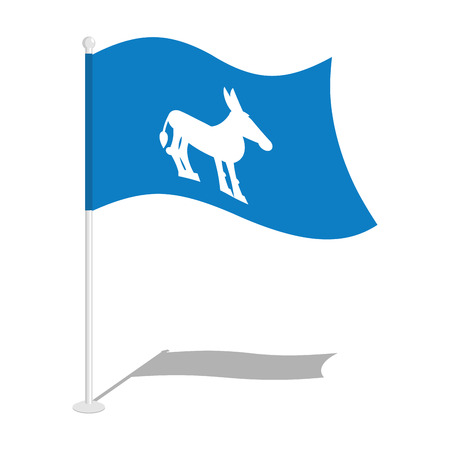 state election: Democrat Donkey Flag. National flag of presidential election in America. State symbol of United States political party Illustration