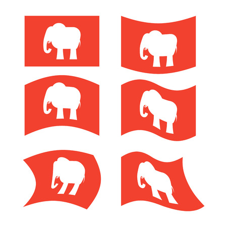 Elephant Flag. Republican National flag of presidential election in America. State symbol of United States political party