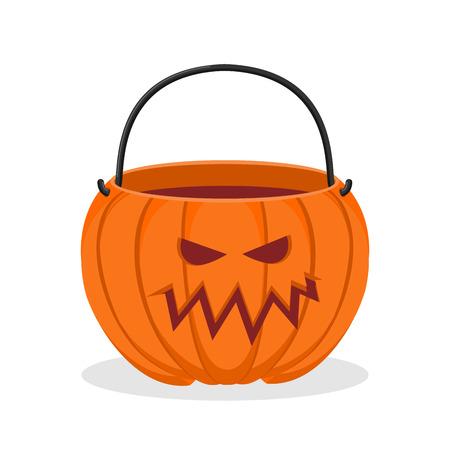 horrible: Pumpkin basket empty for Halloween. Horrible vegetable basket of sweets Illustration