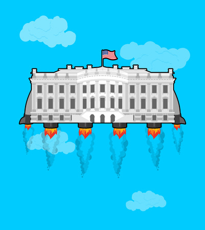White house?Flying with rocket turbo. USA President Residence in space. American National Palace flies. Government building connected to future. Fantastic main Landmarks Washington dc.
