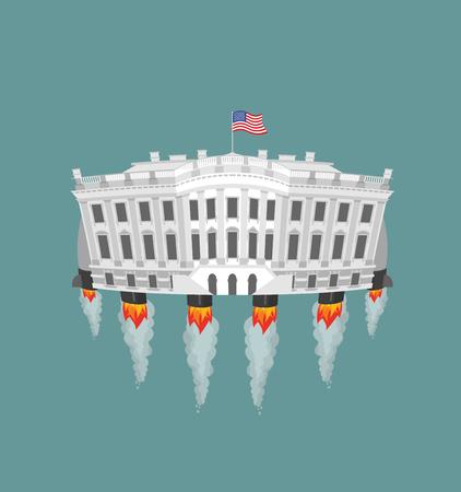 Biały Dom turbiny rakiet. Prezydent USA Rezydencja w przestrzeni. Amerykański Narodowy Pałac leci. Budynek rządowy podłączony do przyszłości. Fantastyczna głównym dc Zabytki Waszyngton.