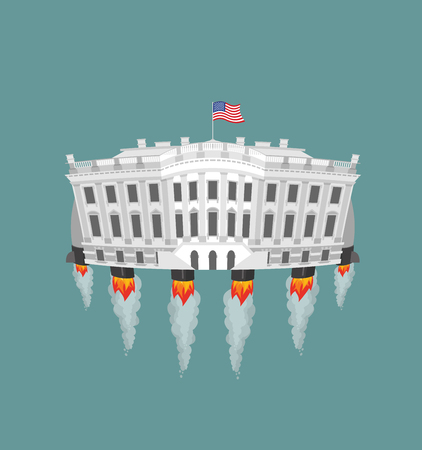 White house rocket turbine. USA President Residence in space. American National Palace flies. Government building connected to future. Fantastic main Landmarks Washington dc.
