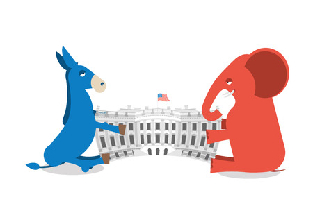 house donkey: Republicans and Democrats share authority. Elephant and Donkey divide White house. Political presidential elections in USA. Government Building America Illustration