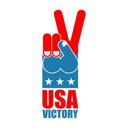 victorious: Finger victory USA. America win hand. Symbol of USA Patriot. American sports sign. Expression of emotions. Pattern of flag of United States Illustration