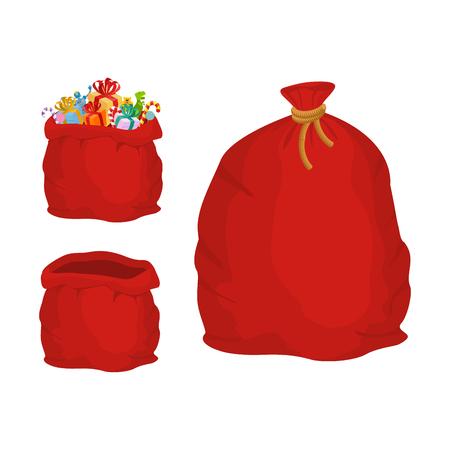 赤い袋に入れます。ギフト用レジャー バッグ サンタ クロース。新年とクリスマスの大きな一袋 写真素材 - 64467272