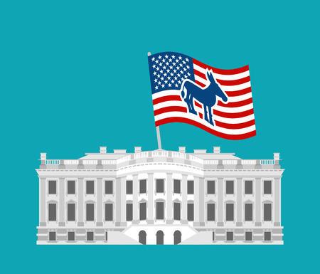house donkey: Democrat win White House. Flag blue donkey. Political presidential elections in USA. Government Building America. patriotic mansion United States Illustration