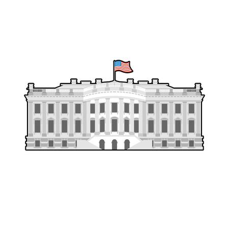 Biały Dom Ameryka. Rezydencja prezydenta USA. US budynek rządowy. Amerykański charakter polityczny. Główną atrakcją Waszyngton. patriotyczne rezydencji Stany Zjednoczone Ilustracje wektorowe
