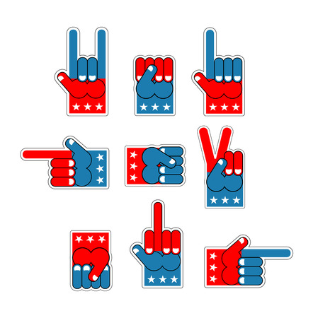 fanaticism: Foam Finger USA patriot. American hand symbol. Expression of emotions. Pattern of flag of America