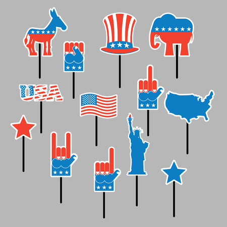 president of the usa: Foam sign president Election of America. Set photo props for photo shoots. Elements for photographing. Republican elephant and Democratic donkey. Symbols of political parties in American. Statue of Liberty and USA map. Fist and Uncle Sam hat