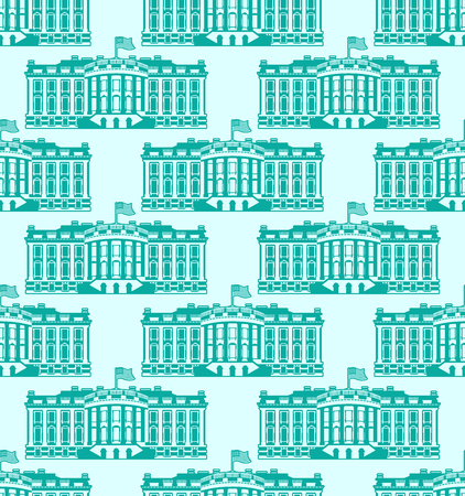 residence: White House America seamless pattern. US President Residence. Government building USA ornament. Political American symbol texture. Main attraction washington dc Illustration