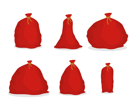 bagful: Red sack set Santa Claus. Large holiday bag for gifts. Big bagful for new year and Christmas Illustration