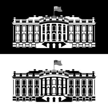 Casa Bianca l'America icona bianco e nero. Residenza del Presidente USA. palazzo del governo degli Stati Uniti. carattere politico americano. Attrazione principale di Washington DC. palazzo patriottico Stati Uniti