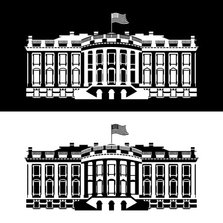 president of the usa: White House America black and white icon. Residence of President USA. US government building. American political character. Main attraction washington dc. patriotic mansion United States